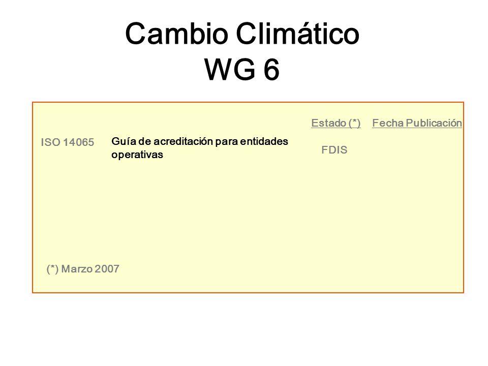 ISO 14065 Guía de acreditación para entidades operativas FDIS Estado (*)Fecha Publicación (*) Marzo 2007 Cambio Climático WG 6
