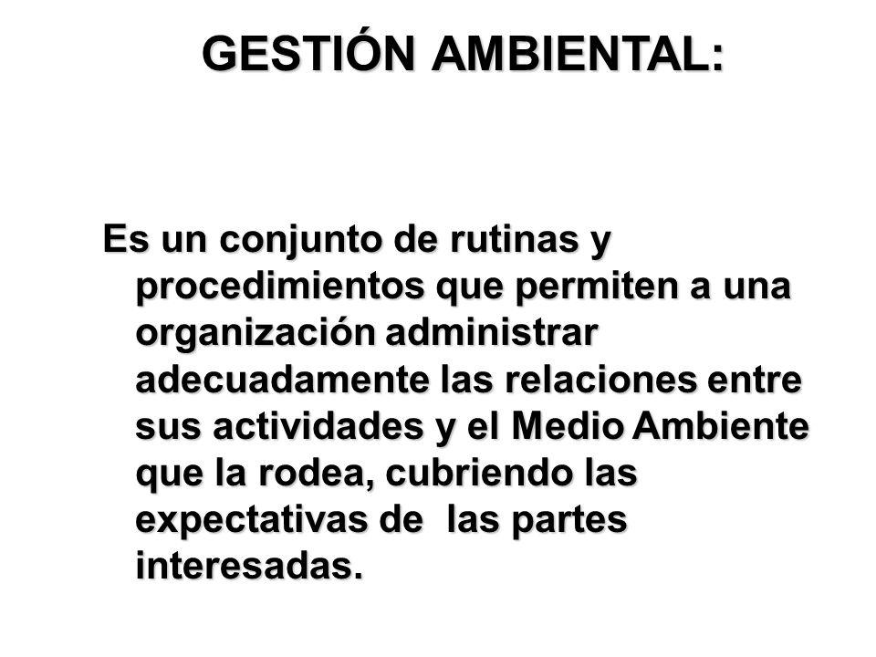 GESTIÓN AMBIENTAL: Es un conjunto de rutinas y procedimientos que permiten a una organización administrar adecuadamente las relaciones entre sus activ