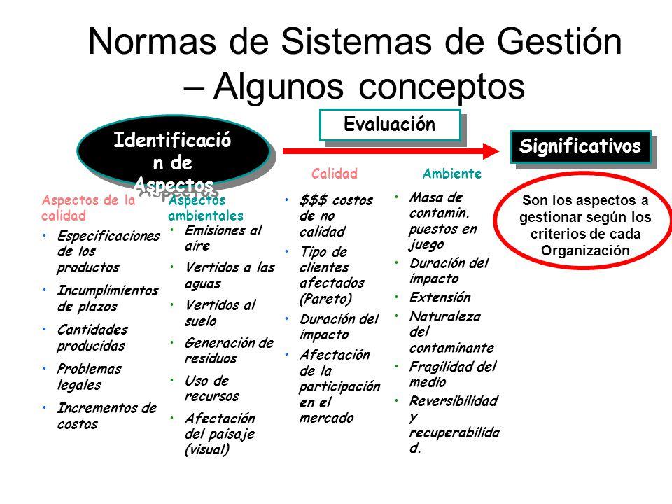 Normas de Sistemas de Gestión – Algunos conceptos Identificació n de Aspectos Significativos Aspectos de la calidad Aspectos ambientales Especificacio