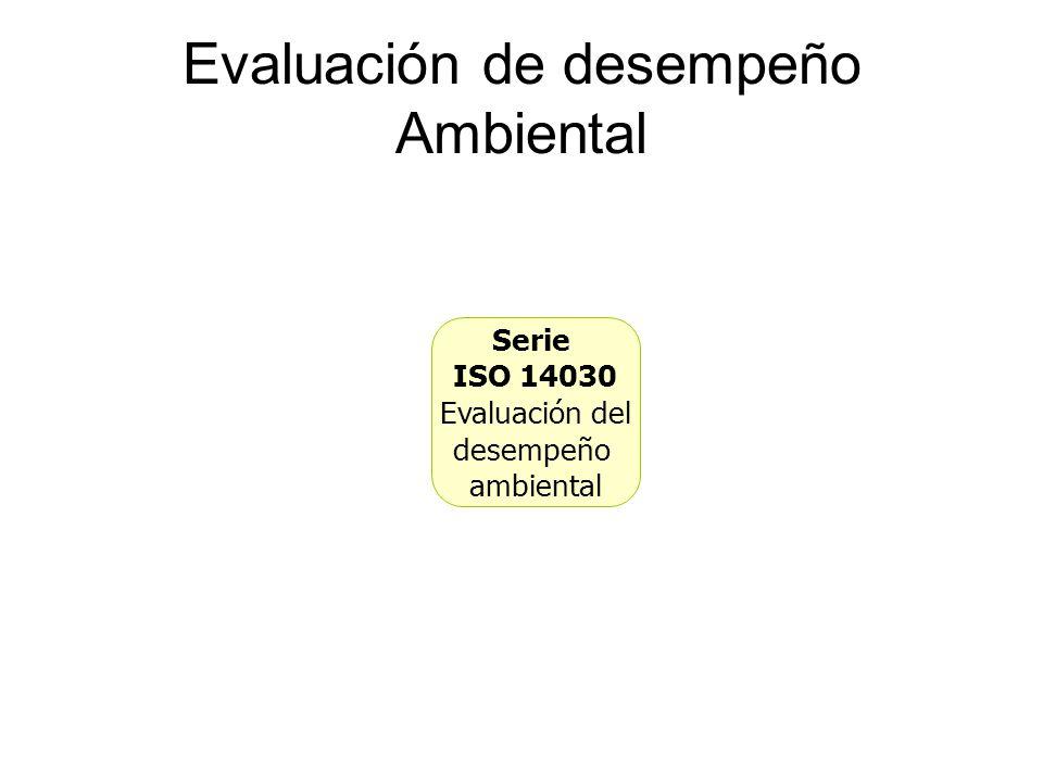 Evaluación de desempeño Ambiental Serie ISO 14030 Evaluación del desempeño ambiental