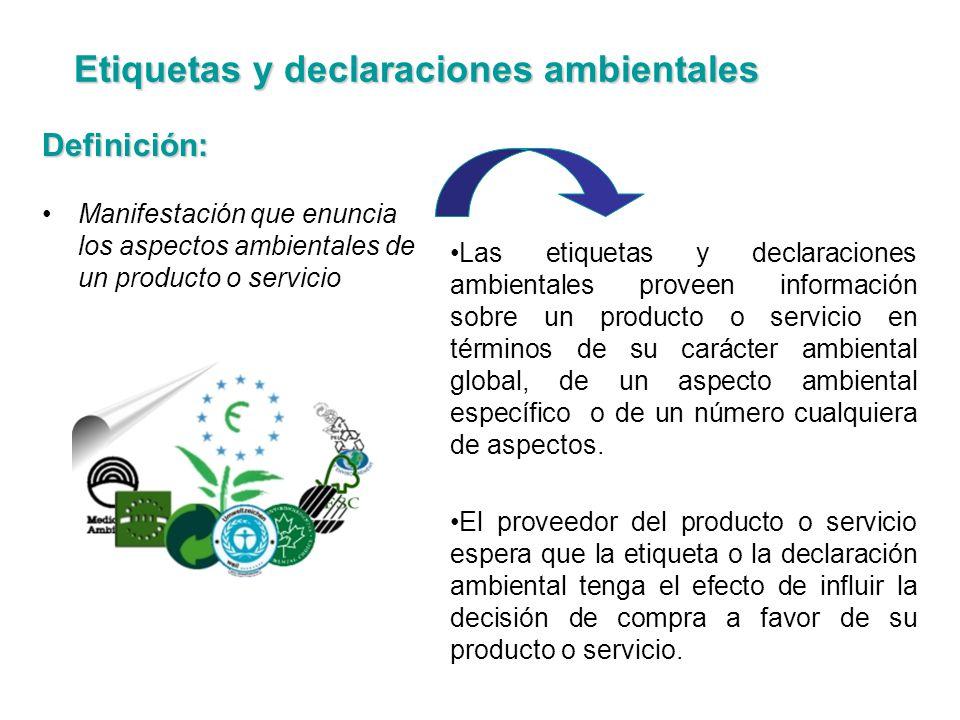 Definición: Manifestación que enuncia los aspectos ambientales de un producto o servicio Las etiquetas y declaraciones ambientales proveen información
