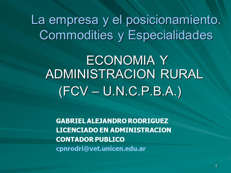 1 La empresa y el posicionamiento. Commodities y Especialidades ECONOMIA Y ADMINISTRACION RURAL ECONOMIA Y ADMINISTRACION RURAL (FCV – U.N.C.P.B.A.) G