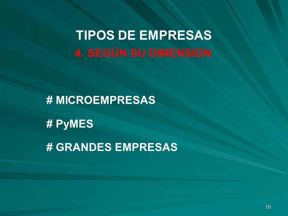 10 4. SEGÚN SU DIMENSION # MICROEMPRESAS # PyMES # GRANDES EMPRESAS TIPOS DE EMPRESAS