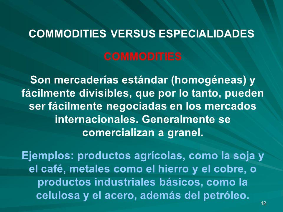 12 COMMODITIES Son mercaderías estándar (homogéneas) y fácilmente divisibles, que por lo tanto, pueden ser fácilmente negociadas en los mercados inter