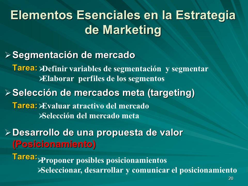 20 Elementos Esenciales en la Estrategia de Marketing Segmentación de mercado Segmentación de mercadoTarea: Selección de mercados meta (targeting) Sel