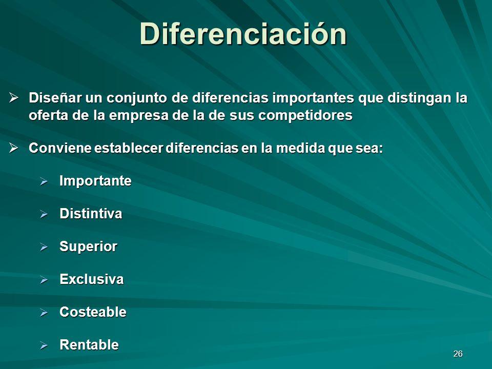 26 Diseñar un conjunto de diferencias importantes que distingan la oferta de la empresa de la de sus competidores Diseñar un conjunto de diferencias i