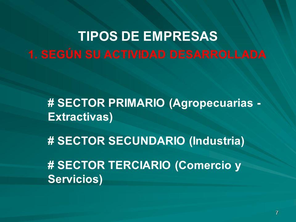 7 1. SEGÚN SU ACTIVIDAD DESARROLLADA # SECTOR PRIMARIO (Agropecuarias - Extractivas) # SECTOR SECUNDARIO (Industria) # SECTOR TERCIARIO (Comercio y Se