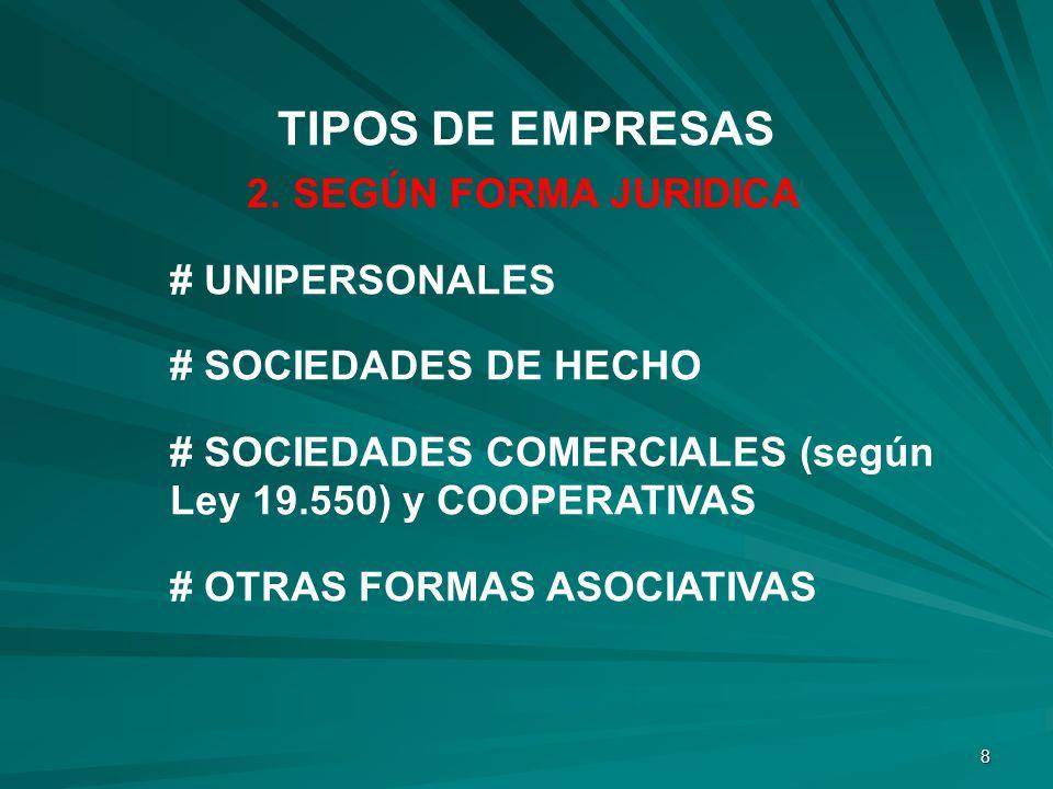8 2. SEGÚN FORMA JURIDICA # UNIPERSONALES # SOCIEDADES DE HECHO # SOCIEDADES COMERCIALES (según Ley 19.550) y COOPERATIVAS # OTRAS FORMAS ASOCIATIVAS
