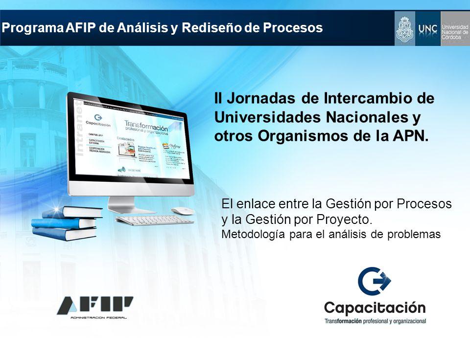 Programa AFIP de Análisis y Rediseño de Procesos El enlace entre la Gestión por Procesos y la Gestión por Proyecto. Metodología para el análisis de pr
