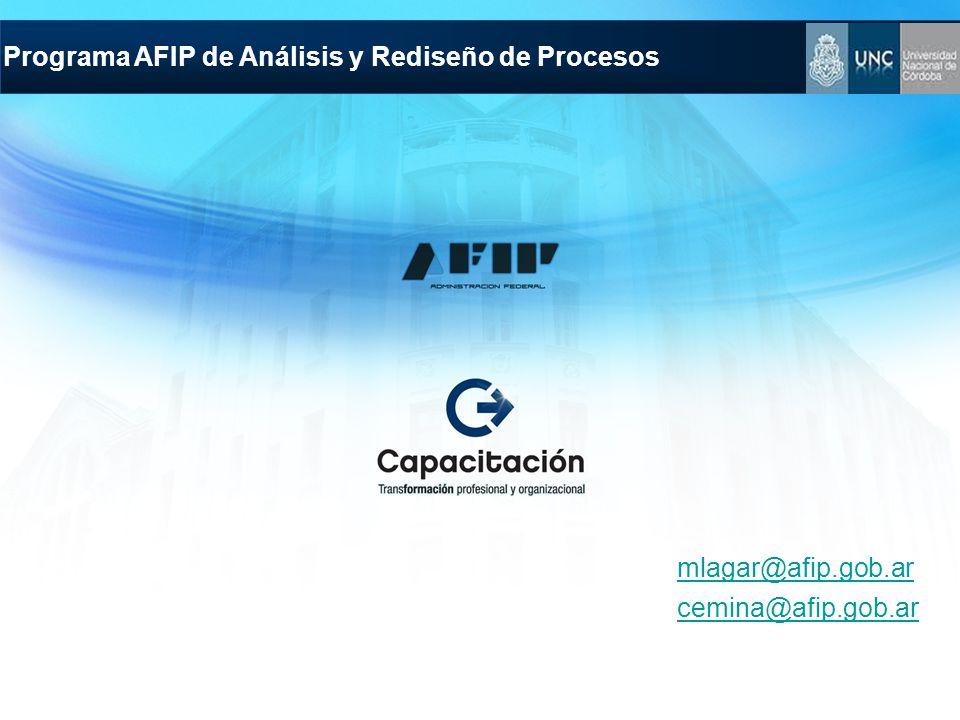 Programa AFIP de Análisis y Rediseño de Procesos mlagar@afip.gob.ar cemina@afip.gob.ar