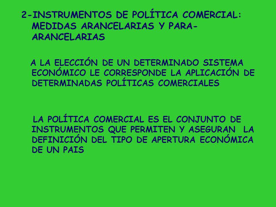 MEDIDAS DE POLÍTICA COMERCIAL 2 CLASIF.: 1- INCIDEN SOBRE LA EXPORTACIÓN INCIDEN SOBRE LA IMPORTACIÓN 2- MEDIDAS ARANCELARIAS MEDIDAS PARA-ARANCELARIAS MEDIDAS PARA LA COMPETENCIA INTERNACIONAL