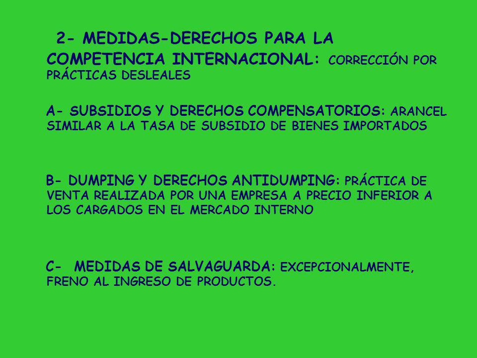 2- MEDIDAS-DERECHOS PARA LA COMPETENCIA INTERNACIONAL: CORRECCIÓN POR PRÁCTICAS DESLEALES A- SUBSIDIOS Y DERECHOS COMPENSATORIOS: ARANCEL SIMILAR A LA TASA DE SUBSIDIO DE BIENES IMPORTADOS B- DUMPING Y DERECHOS ANTIDUMPING: PRÁCTICA DE VENTA REALIZADA POR UNA EMPRESA A PRECIO INFERIOR A LOS CARGADOS EN EL MERCADO INTERNO C- MEDIDAS DE SALVAGUARDA: EXCEPCIONALMENTE, FRENO AL INGRESO DE PRODUCTOS.