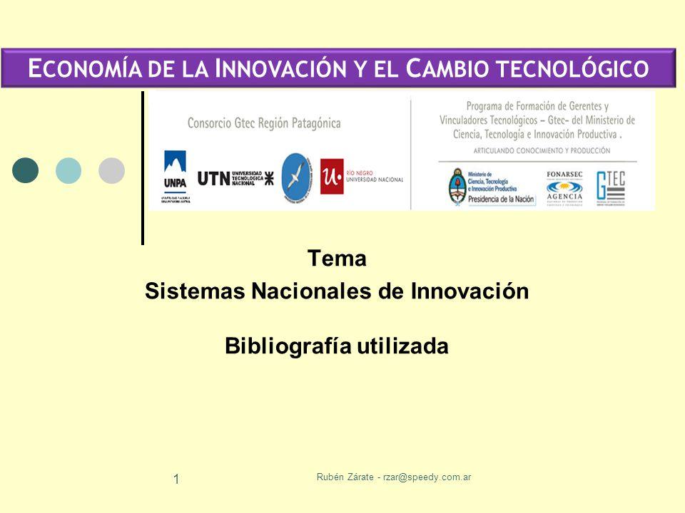 Rubén Zárate - rzar@speedy.com.ar 1 Tema Sistemas Nacionales de Innovación Bibliografía utilizada E CONOMÍA DE LA I NNOVACIÓN Y EL C AMBIO TECNOLÓGICO