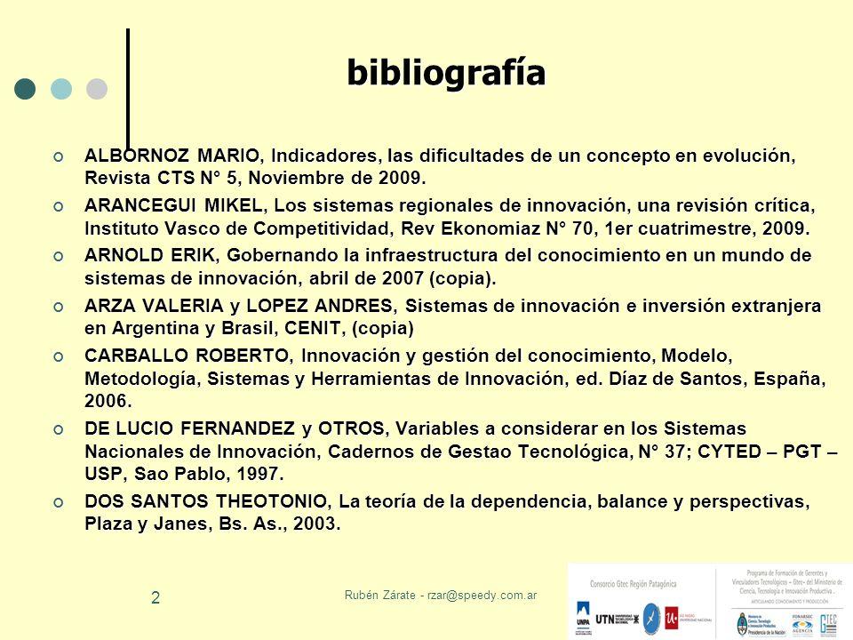 Rubén Zárate - rzar@speedy.com.ar 3 bibliografía KATZ JORGE, Reformas estructurales, productividad y conducta tecnológica en América Latina, CEPAL – EFE, Chile, 2000.