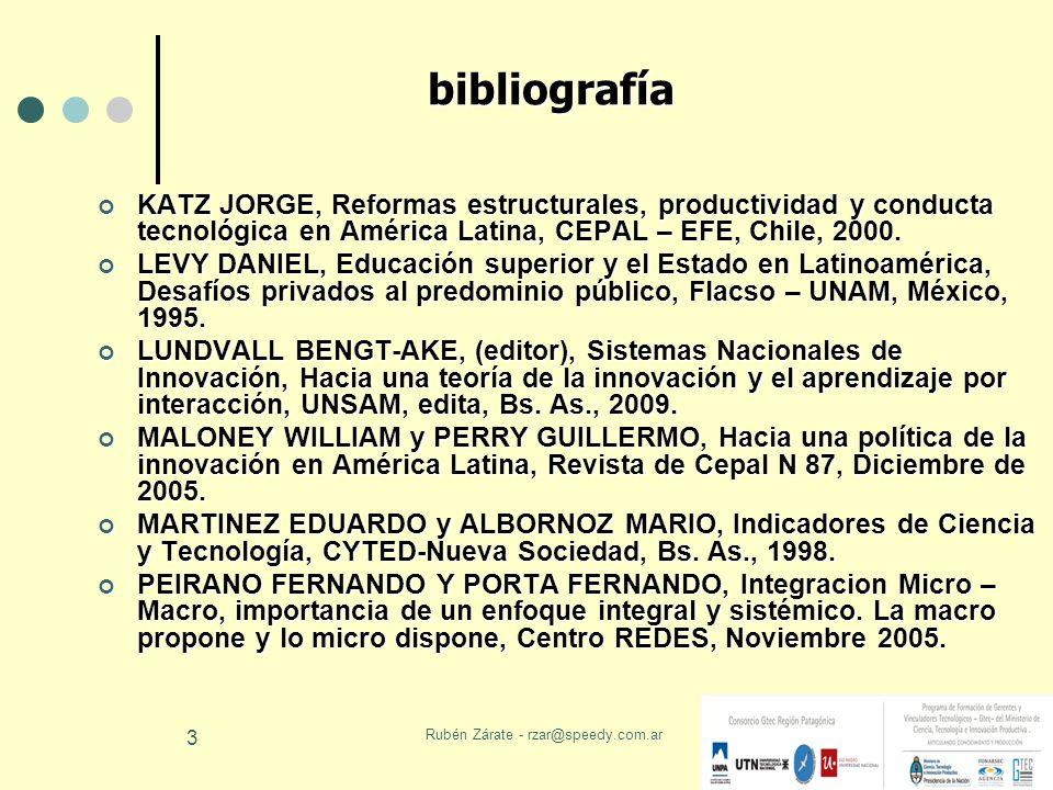 Rubén Zárate - rzar@speedy.com.ar 3 bibliografía KATZ JORGE, Reformas estructurales, productividad y conducta tecnológica en América Latina, CEPAL – E