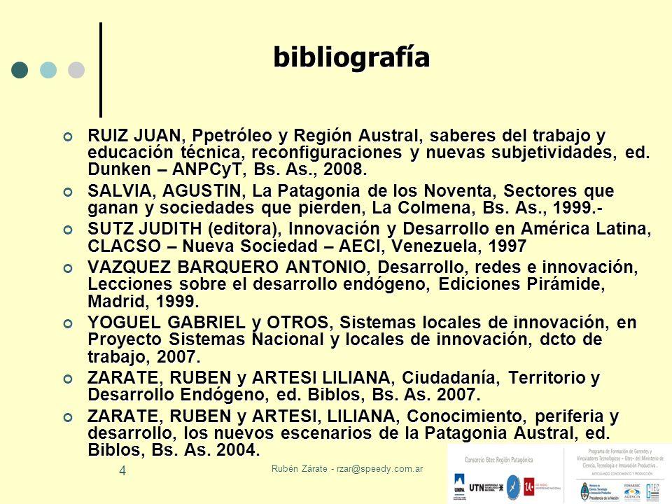 Rubén Zárate - rzar@speedy.com.ar 4 bibliografía RUIZ JUAN, Ppetróleo y Región Austral, saberes del trabajo y educación técnica, reconfiguraciones y n