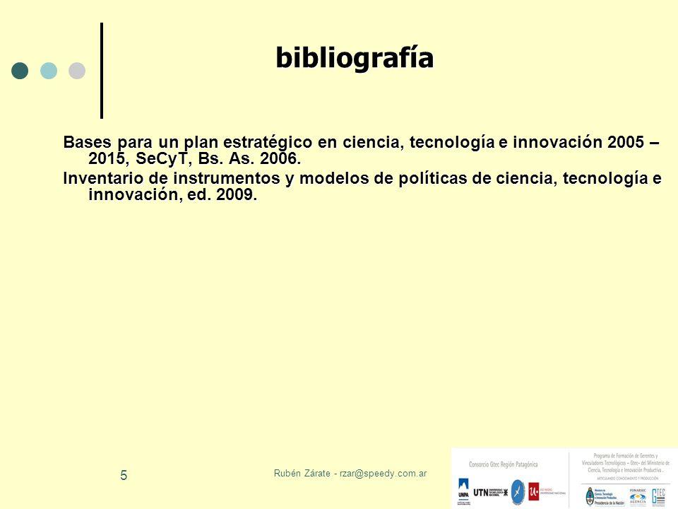Rubén Zárate - rzar@speedy.com.ar 5 bibliografía Bases para un plan estratégico en ciencia, tecnología e innovación 2005 – 2015, SeCyT, Bs. As. 2006.