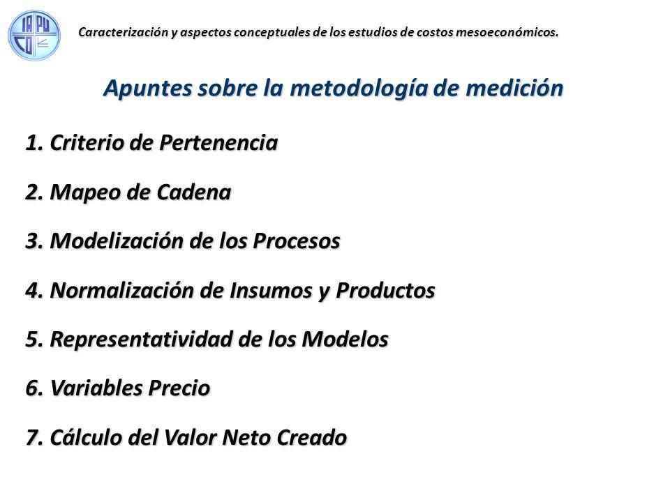 1. Criterio de Pertenencia 2. Mapeo de Cadena 3. Modelización de los Procesos 4. Normalización de Insumos y Productos 5. Representatividad de los Mode