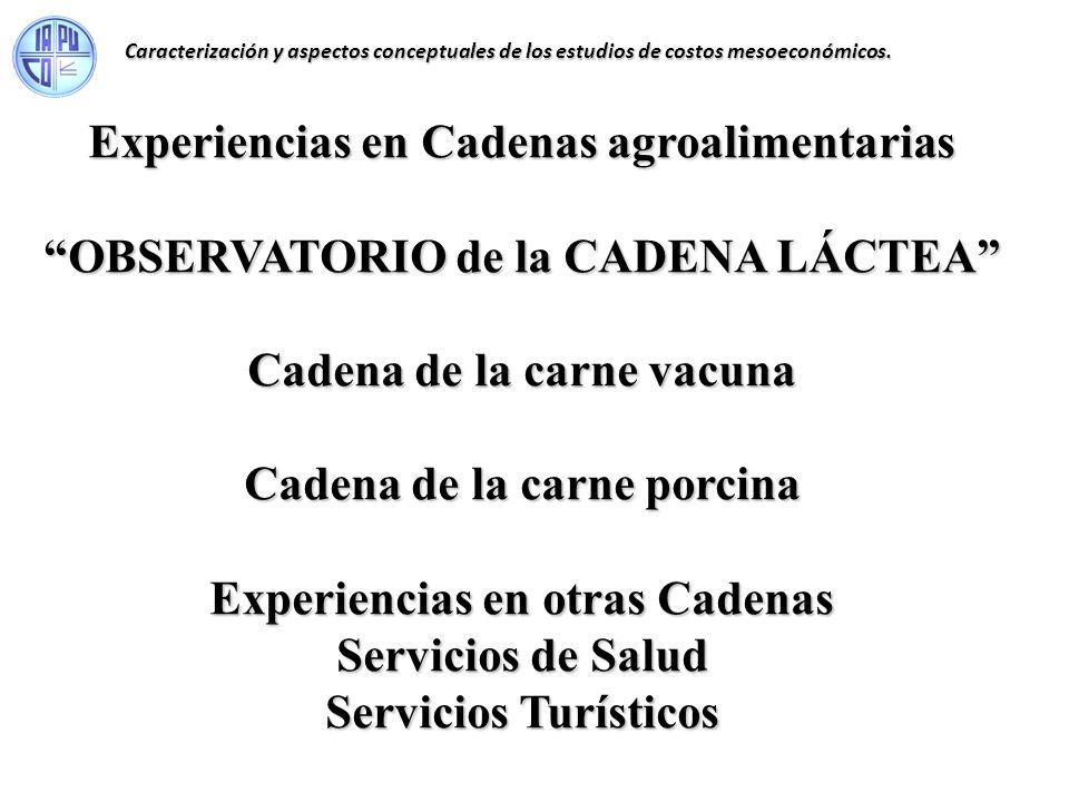 Experiencias en Cadenas agroalimentarias OBSERVATORIO de la CADENA LÁCTEA Cadena de la carne vacuna Cadena de la carne porcina Experiencias en otras C