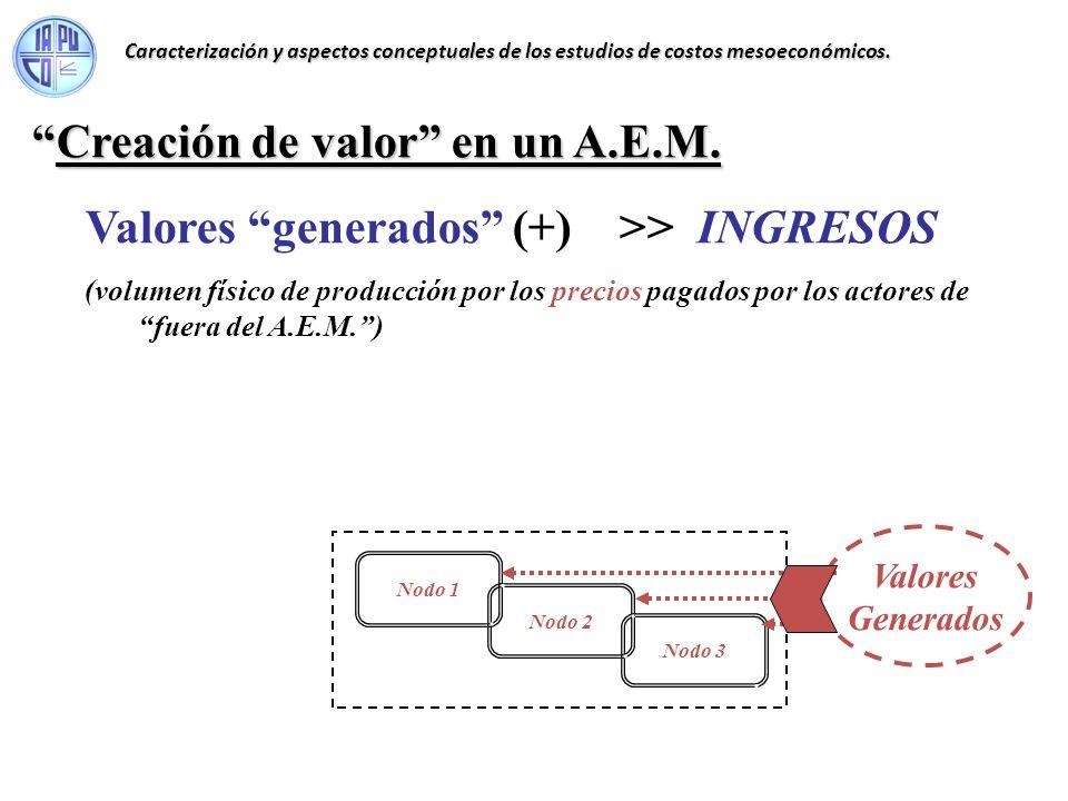 Creación de valor en un A.E.M.Creación de valor en un A.E.M. Valores generados (+) >> INGRESOS (volumen físico de producción por los precios pagados p