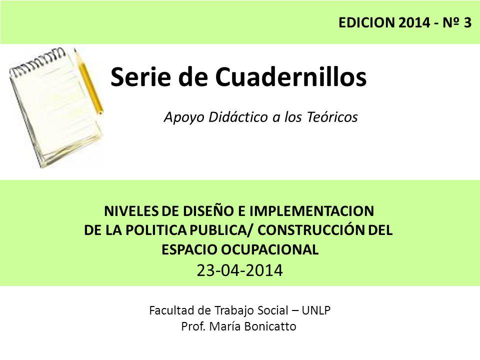Serie de Cuadernillos Apoyo Didáctico a los Teóricos Facultad de Trabajo Social – UNLP Prof.