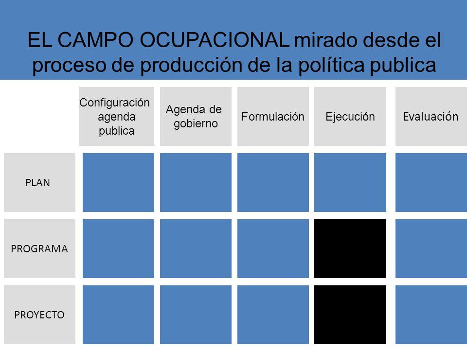 Agenda de gobierno FormulaciónEjecución Evaluación Configuración agenda publica PROYECTO PLAN PROGRAMA EL CAMPO OCUPACIONAL mirado desde el proceso de producción de la política publica
