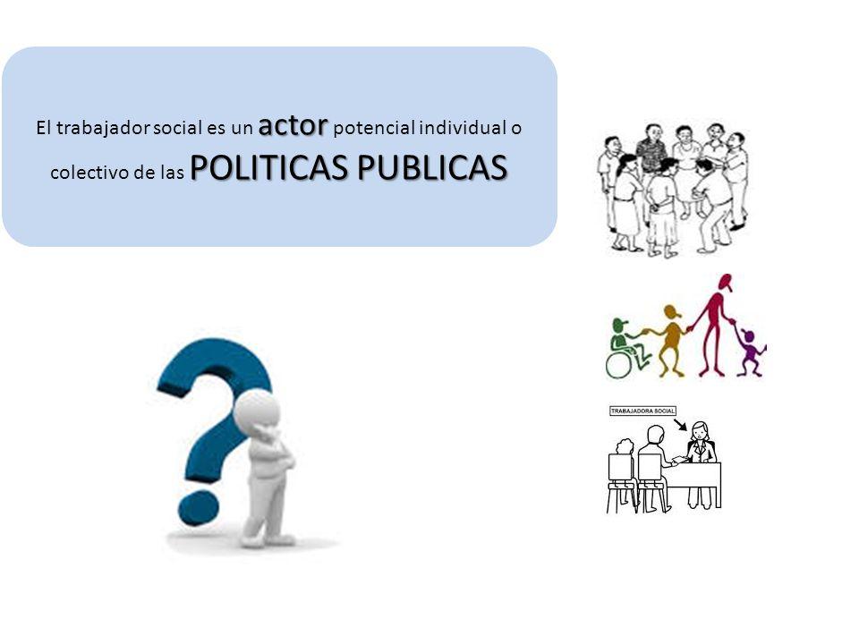 actor POLITICAS PUBLICAS El trabajador social es un actor potencial individual o colectivo de las POLITICAS PUBLICAS