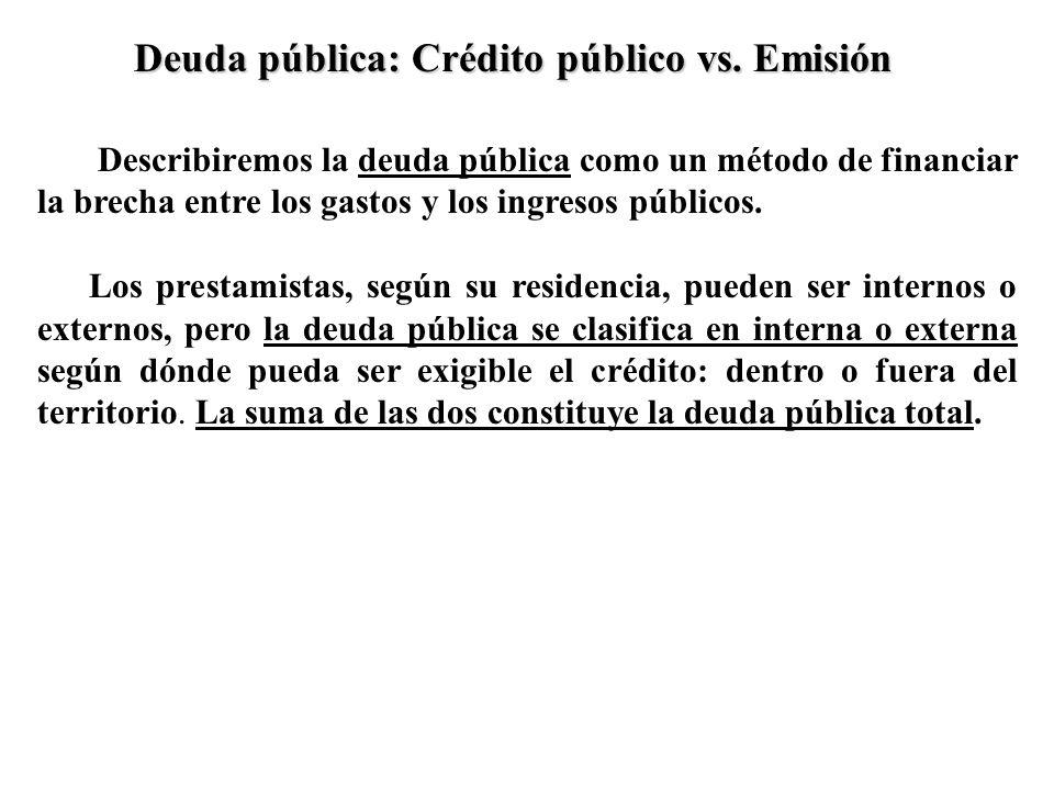 Describiremos la deuda pública como un método de financiar la brecha entre los gastos y los ingresos públicos. Los prestamistas, según su residencia,