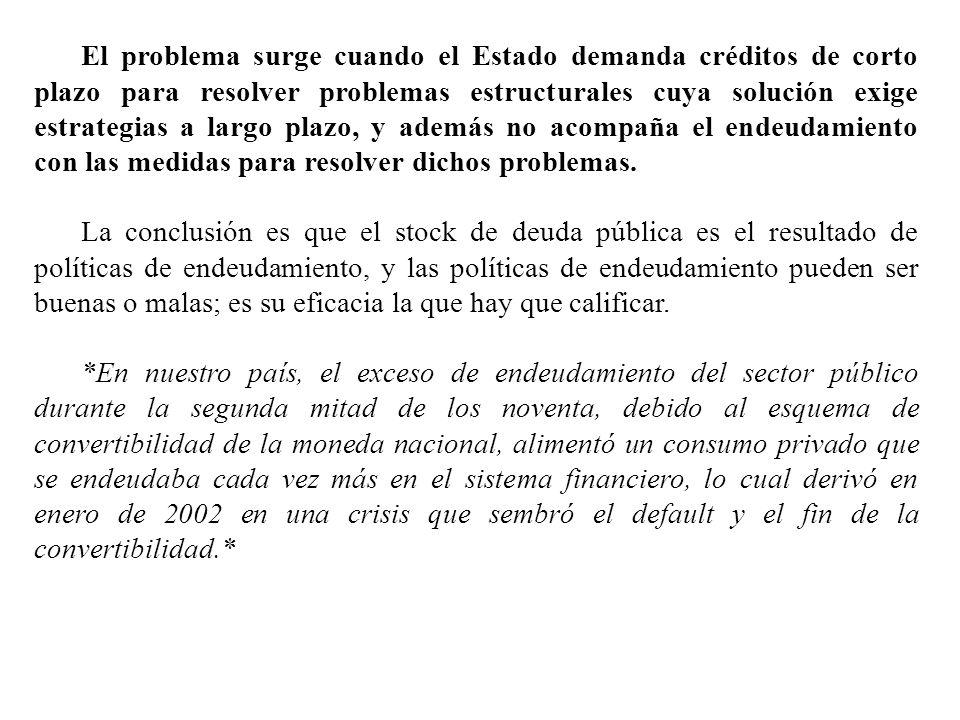 El problema surge cuando el Estado demanda créditos de corto plazo para resolver problemas estructurales cuya solución exige estrategias a largo plazo