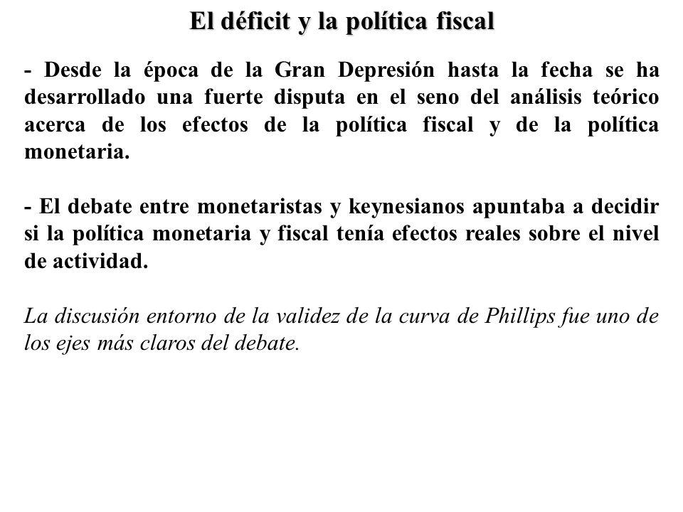 - Desde la época de la Gran Depresión hasta la fecha se ha desarrollado una fuerte disputa en el seno del análisis teórico acerca de los efectos de la política fiscal y de la política monetaria.