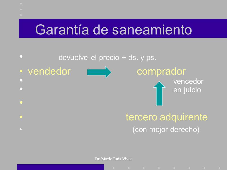 Dr. Mario Luis Vivas Garantía de saneamiento devuelve el precio + ds. y ps. vendedor comprador vencedor en juicio tercero adquirente (con mejor derech