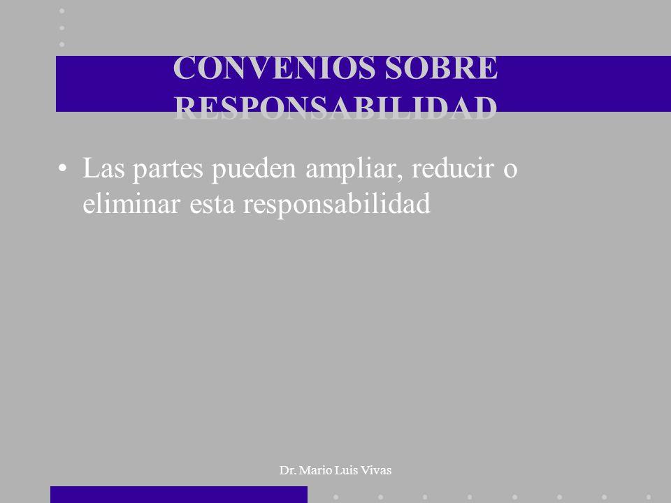 Dr. Mario Luis Vivas CONVENIOS SOBRE RESPONSABILIDAD Las partes pueden ampliar, reducir o eliminar esta responsabilidad
