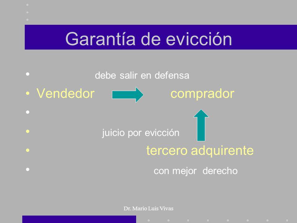 Dr. Mario Luis Vivas Garantía de evicción debe salir en defensa Vendedor comprador juicio por evicción tercero adquirente con mejor derecho