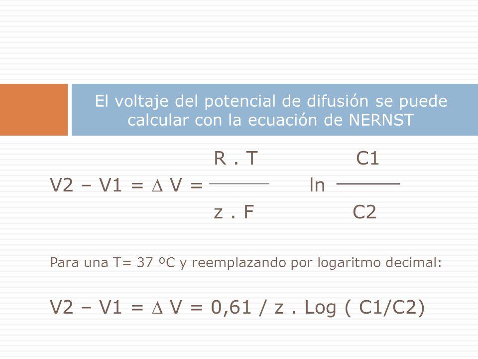 R. T C1 V2 – V1 = V = ln z. F C2 Para una T= 37 ºC y reemplazando por logaritmo decimal: V2 – V1 = V = 0,61 / z. Log ( C1/C2) El voltaje del potencial