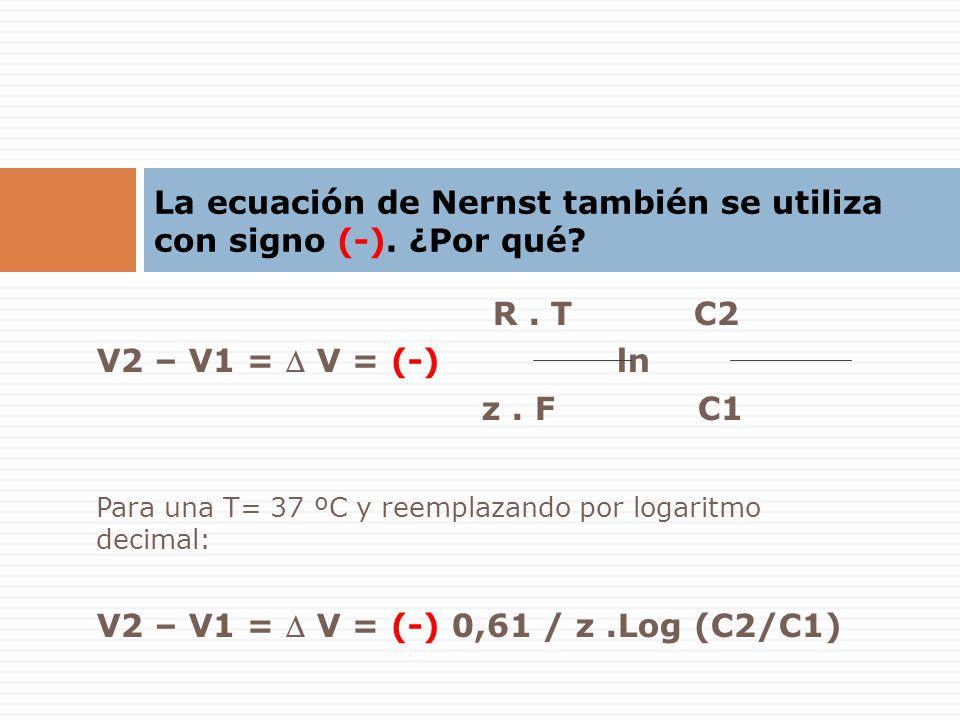 La ecuación de Nernst también se utiliza con signo (-). ¿Por qué? R. T C2 V2 – V1 = V = (-) ln z. F C1 Para una T= 37 ºC y reemplazando por logaritmo