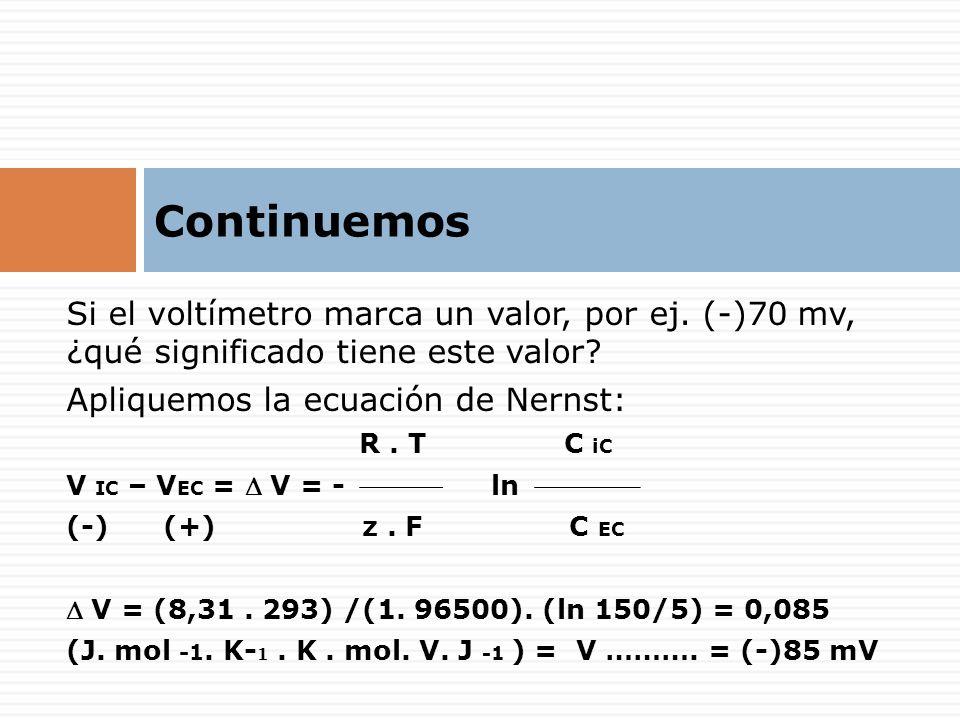 Si el voltímetro marca un valor, por ej. (-)70 mv, ¿qué significado tiene este valor? Apliquemos la ecuación de Nernst: R. T C iC V IC – V EC = V = -