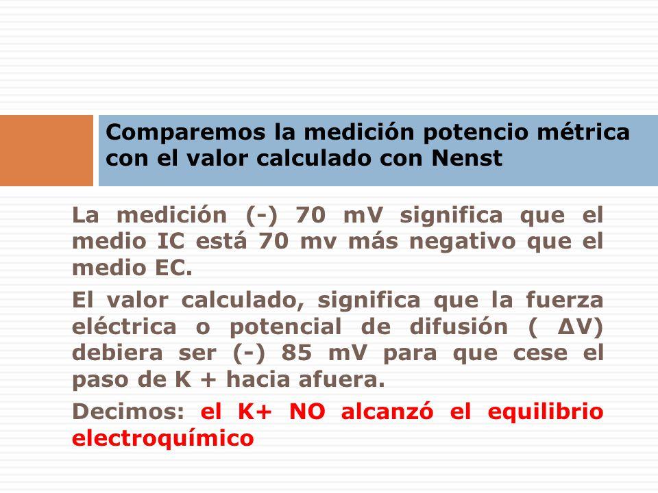 La medición (-) 70 mV significa que el medio IC está 70 mv más negativo que el medio EC. El valor calculado, significa que la fuerza eléctrica o poten