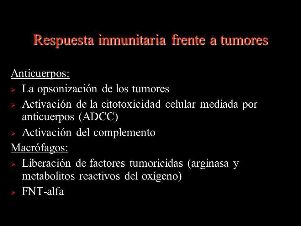 Respuesta inmunitaria frente a tumores Anticuerpos: La opsonización de los tumores Activación de la citotoxicidad celular mediada por anticuerpos (ADC