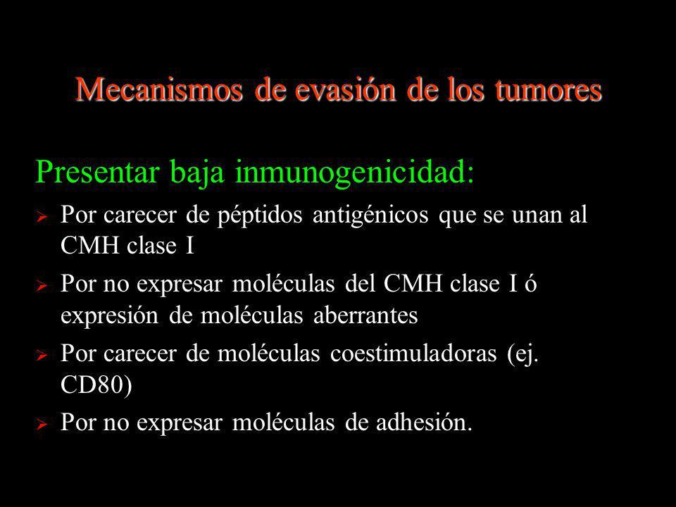 Mecanismos de evasión de los tumores Presentar baja inmunogenicidad: Por carecer de péptidos antigénicos que se unan al CMH clase I Por no expresar mo