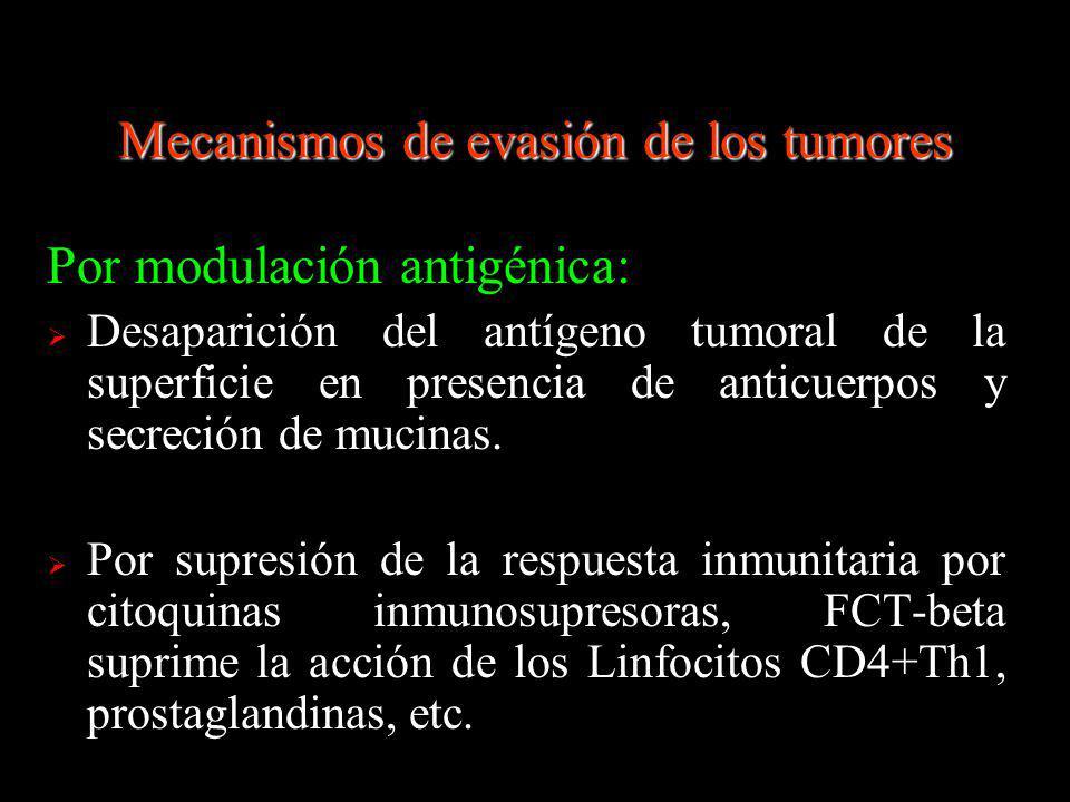 Por modulación antigénica: Desaparición del antígeno tumoral de la superficie en presencia de anticuerpos y secreción de mucinas. Por supresión de la