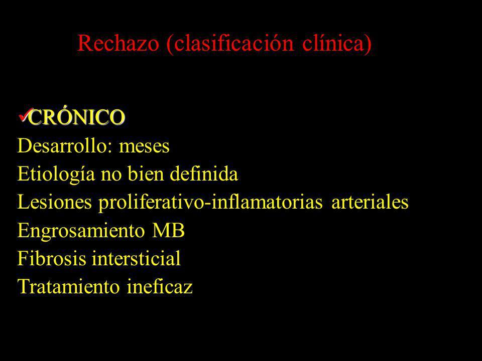 CRÓNICO CRÓNICO Desarrollo: meses Etiología no bien definida Lesiones proliferativo-inflamatorias arteriales Engrosamiento MB Fibrosis intersticial Tr