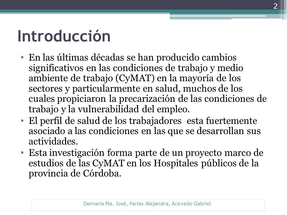 Introducción En las últimas décadas se han producido cambios significativos en las condiciones de trabajo y medio ambiente de trabajo (CyMAT) en la mayoría de los sectores y particularmente en salud, muchos de los cuales propiciaron la precarización de las condiciones de trabajo y la vulnerabilidad del empleo.