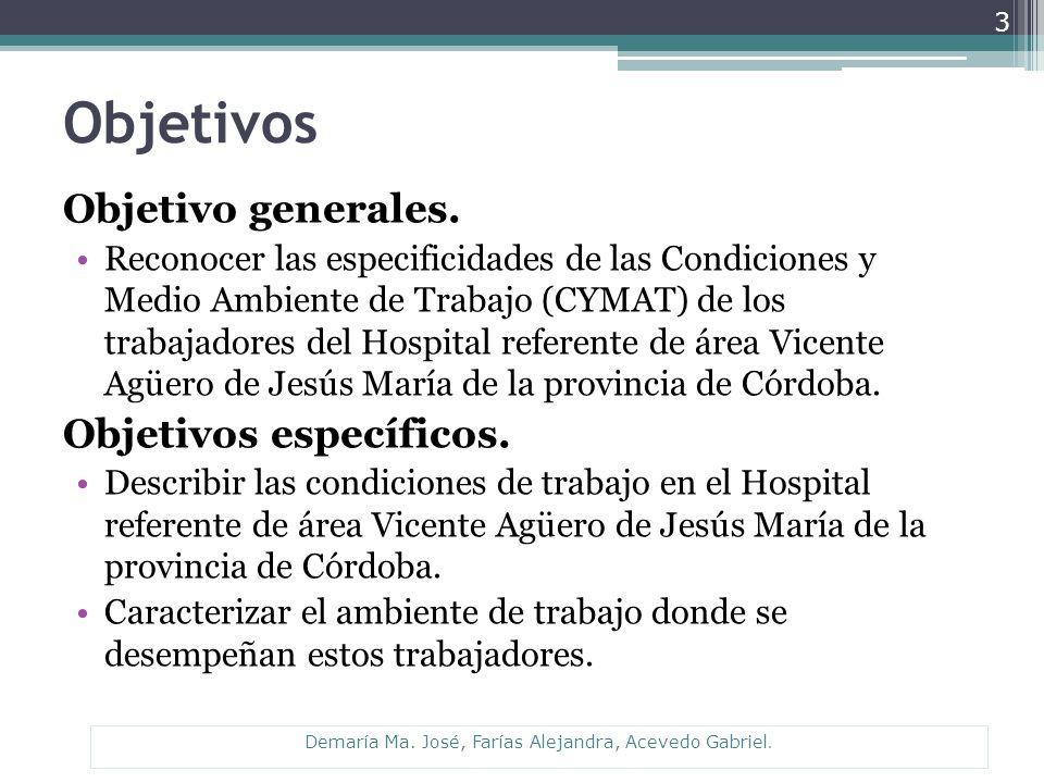 Objetivos Objetivo generales. Reconocer las especificidades de las Condiciones y Medio Ambiente de Trabajo (CYMAT) de los trabajadores del Hospital re