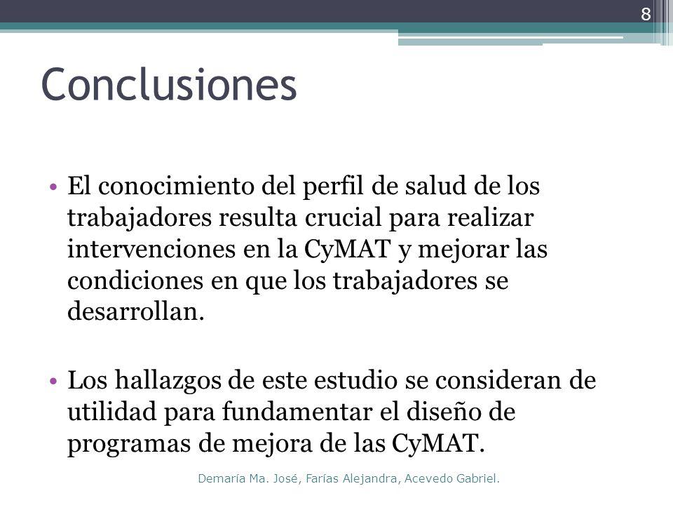 Conclusiones El conocimiento del perfil de salud de los trabajadores resulta crucial para realizar intervenciones en la CyMAT y mejorar las condiciones en que los trabajadores se desarrollan.