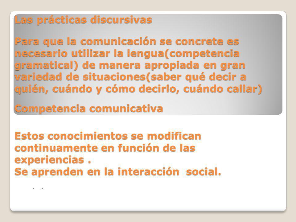 Las prácticas discursivas Para que la comunicación se concrete es necesario utilizar la lengua(competencia gramatical) de manera apropiada en gran var