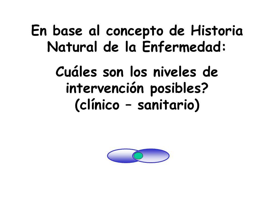 En base al concepto de Historia Natural de la Enfermedad: Cuáles son los niveles de intervención posibles? (clínico – sanitario) La infancia y los cam