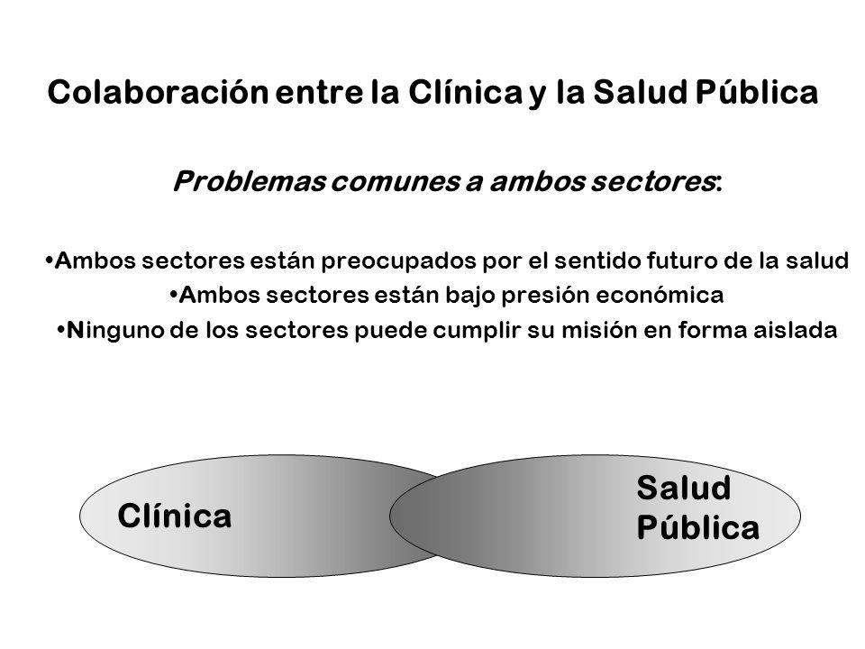 Colaboración entre la Clínica y la Salud Pública Problemas comunes a ambos sectores: Ambos sectores están preocupados por el sentido futuro de la salu