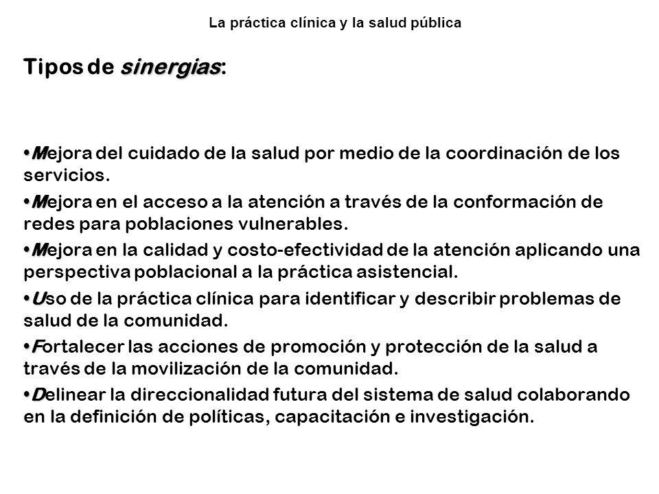 Colaboración entre la Clínica y la Salud Pública sinergias Tipos de sinergias: MMejora del cuidado de la salud por medio de la coordinación de los ser