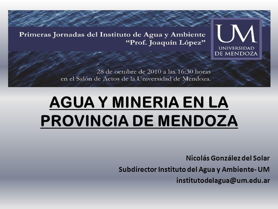 AGUA Y MINERIA EN LA PROVINCIA DE MENDOZA Nicolás González del Solar Subdirector Instituto del Agua y Ambiente- UM institutodelagua@um.edu.ar