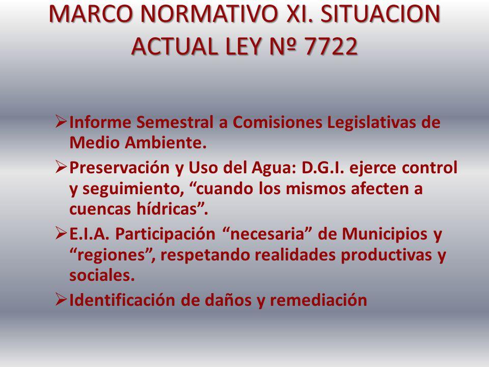 MARCO NORMATIVO XI. SITUACION ACTUAL LEY Nº 7722 Informe Semestral a Comisiones Legislativas de Medio Ambiente. Preservación y Uso del Agua: D.G.I. ej